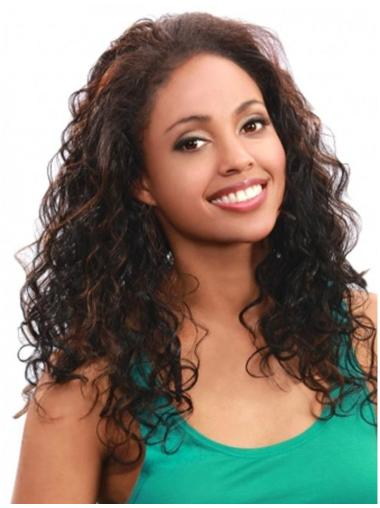 Elegant Brown Curly Long Human Hair Wigs & Half Wigs