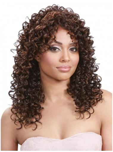 Graceful Brown Curly Long Human Hair Wigs & Half Wigs