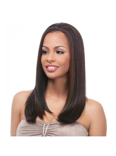 Cheap Brown Straight Long Human Hair Wigs & Half Wigs