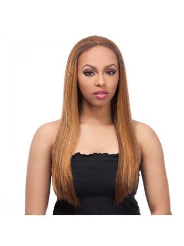 Flexibility Blonde Straight Long Human Hair Wigs & Half Wigs