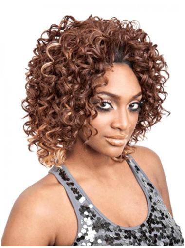 Style Brown Curly Chin Length Human Hair Wigs & Half Wigs