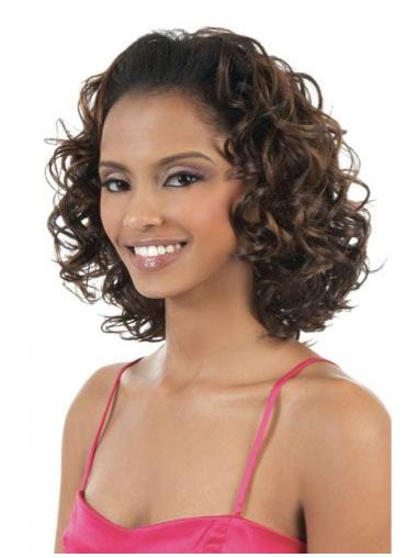 Elegant Brown Curly Shoulder Length Wigs & Half Wigs