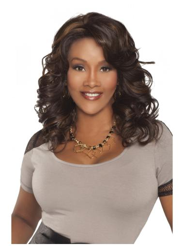 Trendy Brown Curly Long Human Hair Wigs & Half Wigs