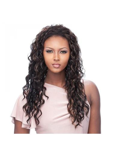 Soft Brown Curly Long Human Hair Wigs & Half Wigs
