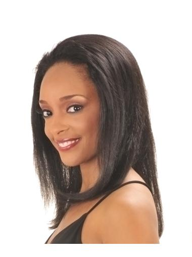 Preferential Black Straight Long Human Hair Wigs & Half Wigs