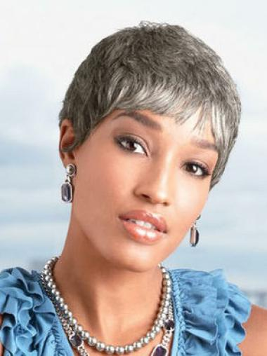Exquisite Straight Cropped Synthetic Grey Wigs
