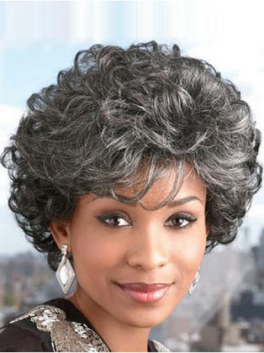 Ideal Curly Short Synthetic Grey Wigs