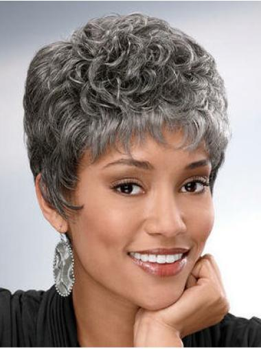 Great Curly Short Synthetic Grey Wigs