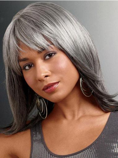 Stylish Lace Front Long Synthetic Grey Wigs