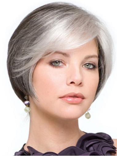 Soft Lace Front Short Synthetic Grey Wigs