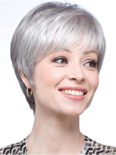 Easeful Lace Front Short Synthetic Grey Wigs