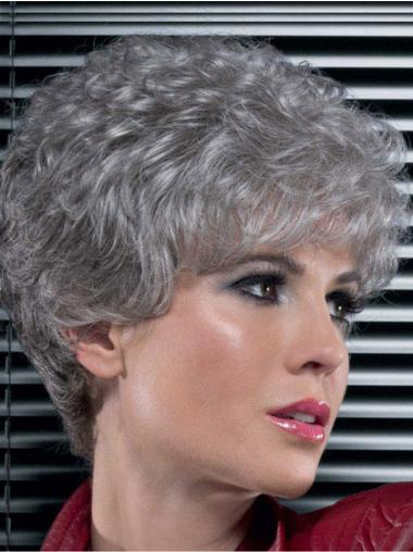 Natural Curly Short Synthetic Grey Wigs