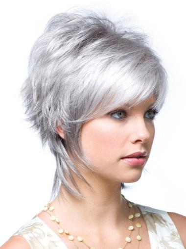 Traditiona Wavy Short Synthetic Grey Wigs