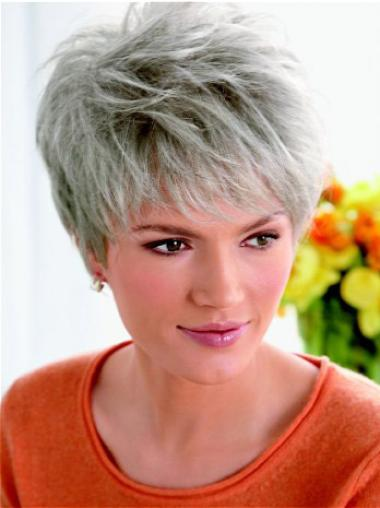 Flexibility Lace Front Cropped Synthetic Grey Wigs