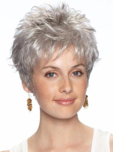 Amazing Wavy Cropped Synthetic Grey Wigs