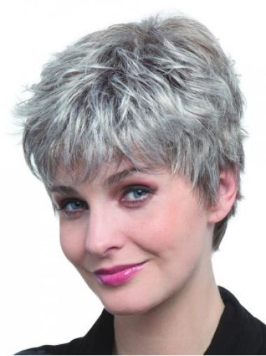 Fabulous Straight Cropped Synthetic Grey Wigs