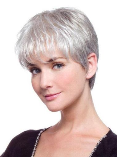 Comfortable Lace Front Short Synthetic Grey Wigs