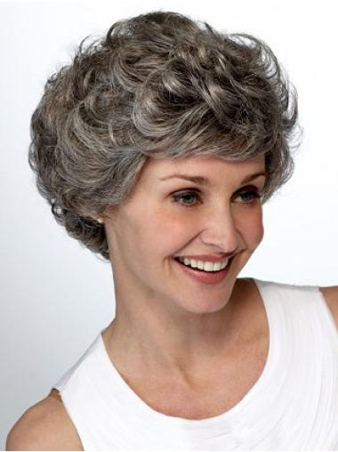 Comfortable Wavy Short Synthetic Grey Wigs