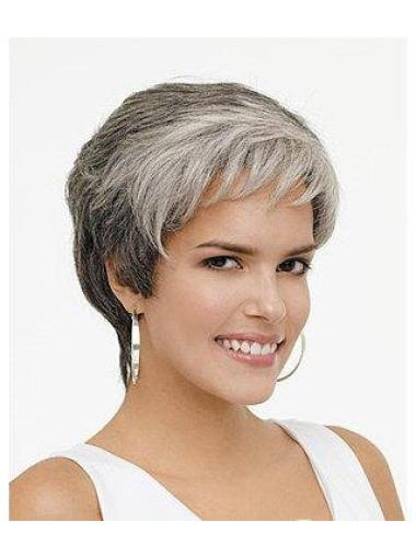 High Quality Wavy Short Synthetic Grey Wigs