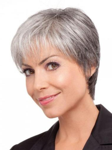 Pleasing Lace Front Short Synthetic Grey Wigs