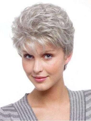 Gorgeous Wavy Short Synthetic Grey Wigs