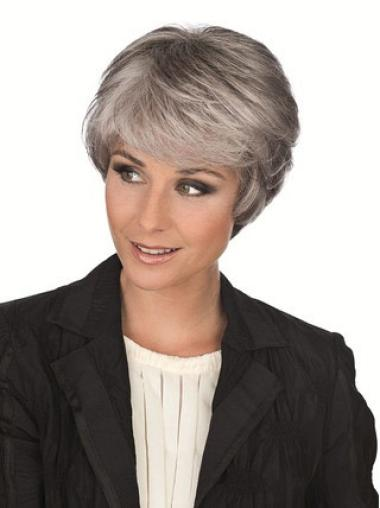 Elegant Straight Short Synthetic Grey Wigs