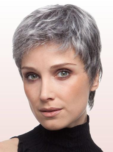 Comfortable Lace Front Cropped Synthetic Grey Wigs