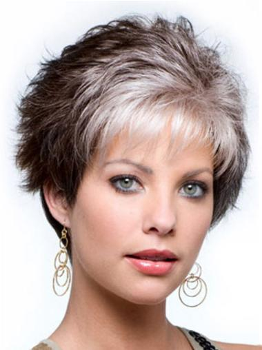 Fashionable Wavy Cropped Synthetic Grey Wigs