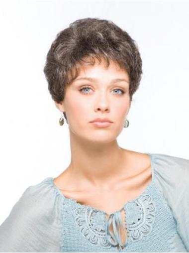 Designed Wavy Short Synthetic Grey Wigs