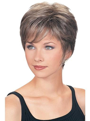 Fashionable Cropped Wavy Synthetic Grey Wigs