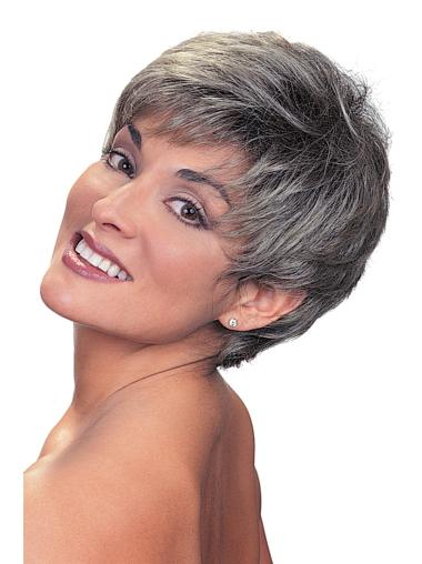 Designed Straight Cropped Synthetic Grey Wigs