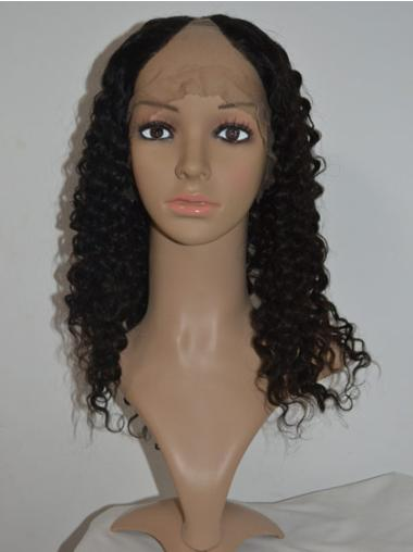 Stylish Black Curly Shoulder Length U Part Wigs
