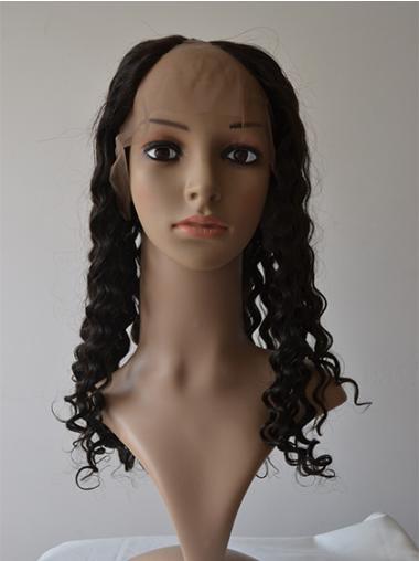 Sleek Black Curly Long U Part Wigs
