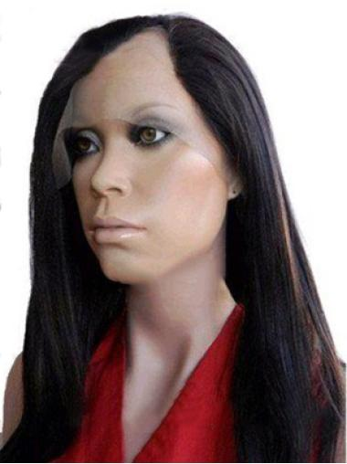 Graceful Black Lace Front Long U Part Wigs
