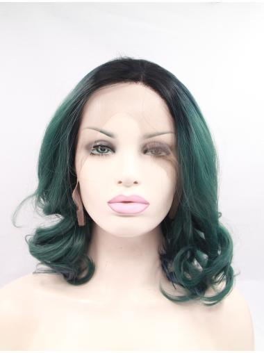 """Synthetic Shoulder Length Ombre/2 Tone Lace Front 15"""" Without Bangs Curly Wigs"""