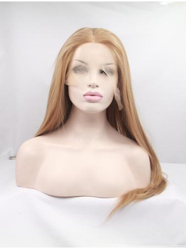 "Synthetic Long Blonde Lace Front 18"" Without Bangs Straight Wigs"