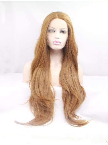 """Synthetic Long Blonde Lace Front 32"""" Layered Wavy Wigs"""