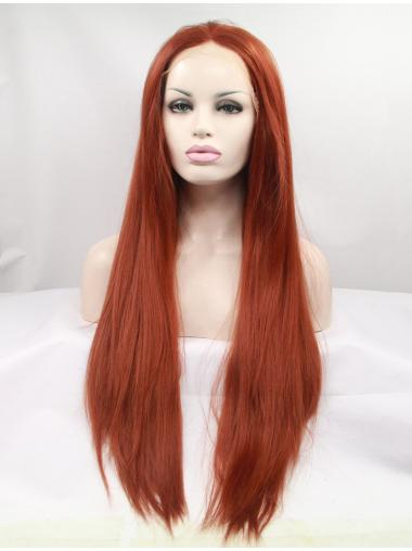 "Synthetic Long Auburn Lace Front 32"" Layered Straight Wigs"