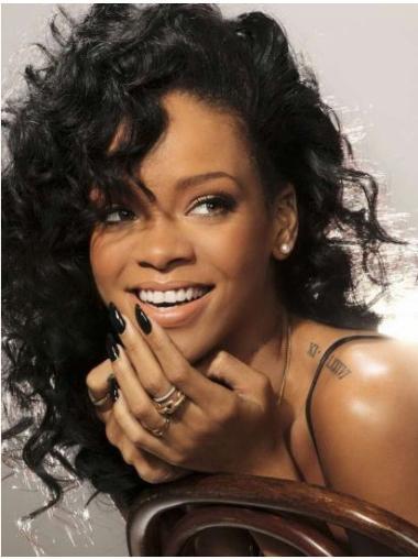 Black Curly 15 Layered Rihanna Hair