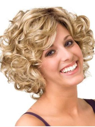 "Buy Human Hair Blonde Layered Curly 10"" Wigs"