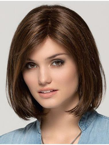 "Remy Human Hair Monofilament Brown 11"" Bob Wig"