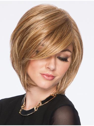 "Blonde Bobs Straight Capless 10"" Synthetic Wigs Cheap"