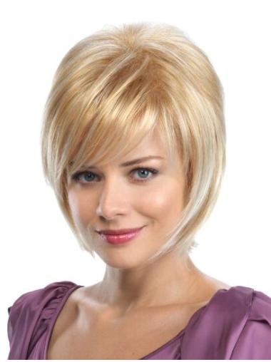 """Straight 8"""" Blonde Synthetic Bobs Medium Wigs"""