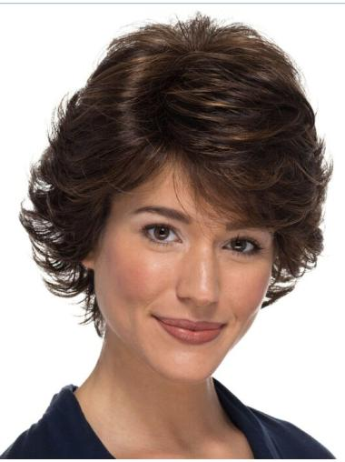 """100% Hand-tied Brown Wavy Classic 8"""" Wigs For Women With Cancer"""