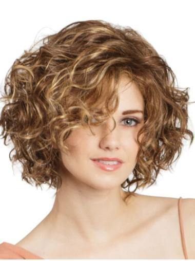 """Bob Cut Curly 11"""" Blonde Lace Front Wigs"""