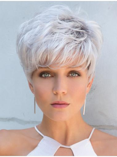 """Cropped Grey Straight 5"""" Capless Wigs For Women"""