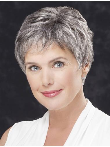 """Lace Front Straight 4"""" Cropped Grey Hair Wigs"""