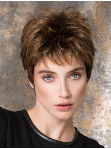 """Straight 4"""" Brown Synthetic Boycuts Short Ladies Wigs"""