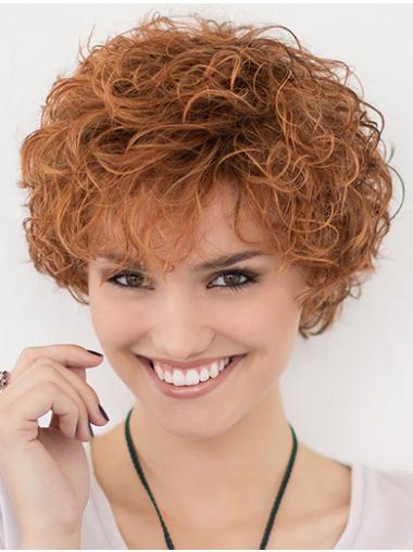 """Layered 10"""" Curly Lace Front Copper Short Hairstyles"""