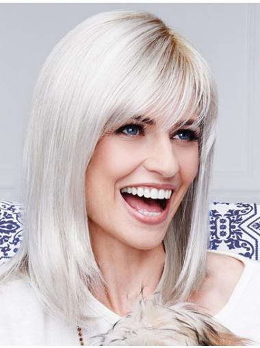 "13"" Straight Shoulder Length Grey Wigs"